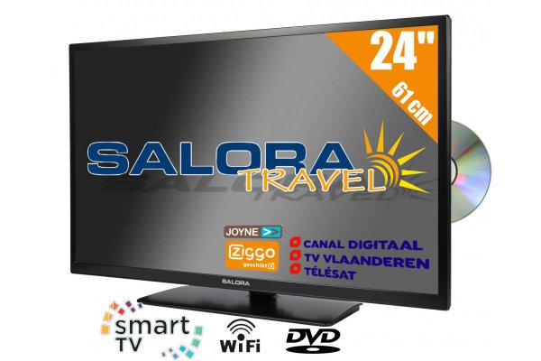 Salora 24 inch HD Travel TV 12 en 230 Volt Satelliet Smart Wifi DVD