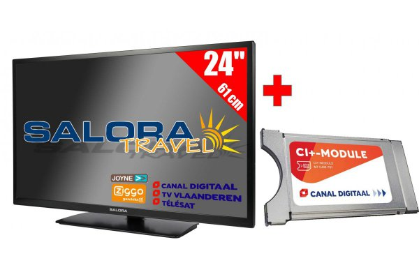 "Salora 24"" Travel TV 12/230 Volt + CanalDigitaal Cam701"