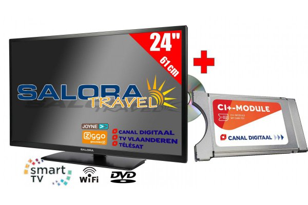 "Salora 24"" Travel TV 12/230 Volt Wifi + Canaldigitaal Cam701"